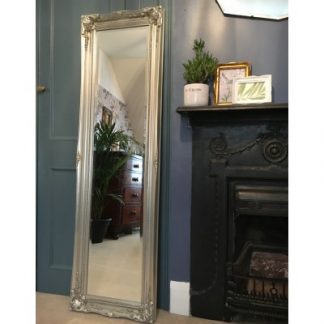 ornate classic silver mirror 12x54