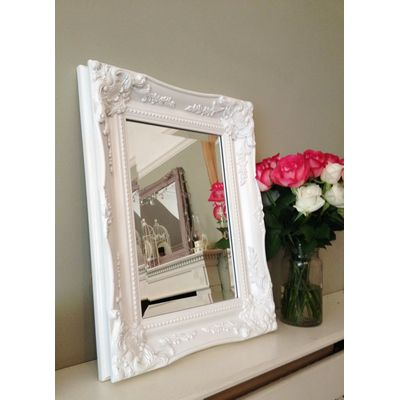 ornate classic white mirror 10x14