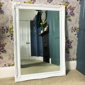 ornate classic white mirror 24x36