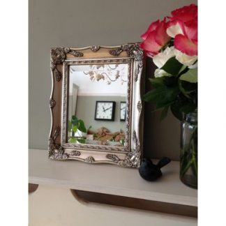 silver ornate mirror 8x10