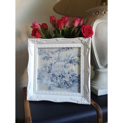 white ornate picture frame 10x10