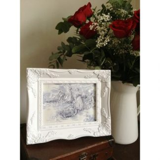 white ornate picture frame 6x8