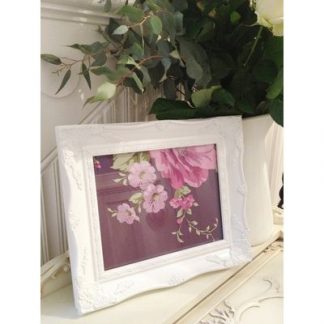 white ornate picture frame 8x10