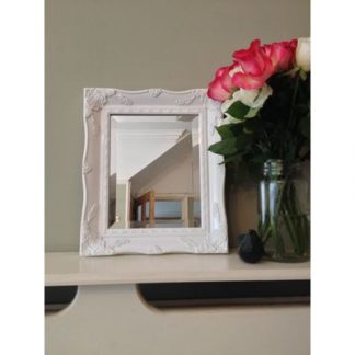 white ornate mirror 8x10