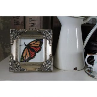 detailed silver picture frame 4x4