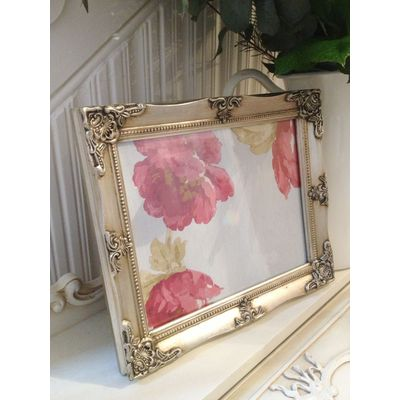 detailed silver picture frame 8x10