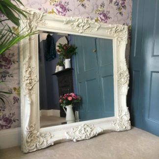 monaco ornate ivory mirror 36x36
