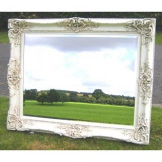 monaco ornate ivory mirror 36x48