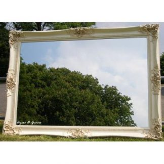 monaco ornate ivory mirror 48x72