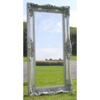 monaco ornate silver mirror 24x60