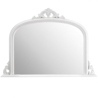 lucy arch white overmantle mirror