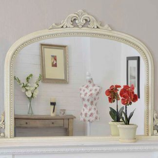 lucy arch ivory overmantle mirror