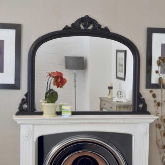 lucy arch black overmantle mirror