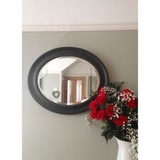 morgan black oval mirror